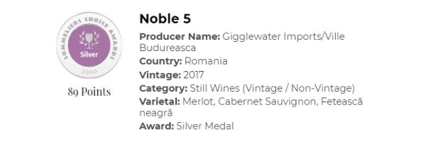 Noble 5 won a silver medal at the 2020 Sommeliers Choice Awards