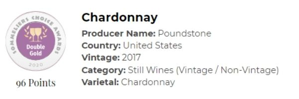 2017 Sangiacomo Chardonnay won 96 points, double gold medal at the 2020 Sommeliers Choice Awards