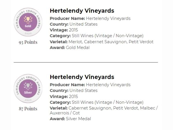 2015 Signature Mountain Blend & 2015 Cabernet Sauvignon both won medals at the 2020 Sommeliers Choice Awards