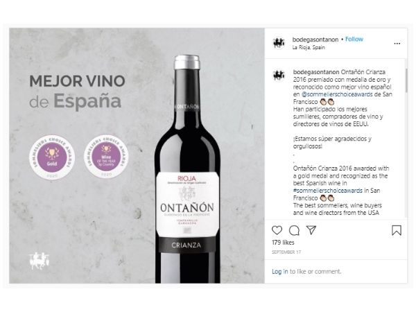 2016 Ontanon Crianza got the best wine from spain award scoring 95 points at the 2020 Sommeliers Choice Awards