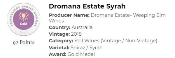 Dromana Etstate Syrah - Gold