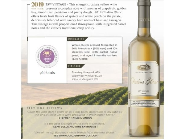 2019 Chaleur Blanc: Sommeliers Choice Awards Wine of the Year by Varietal + Double Gold - 96 Points