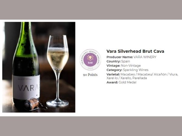 Vara Silverhead Brut Cava - 90 Points, Gold Medal at the 2020 Sommeliers Choice Awards