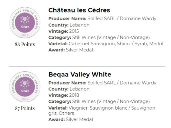 Winning silver medals at the 2020 Sommeliers Choice Awards