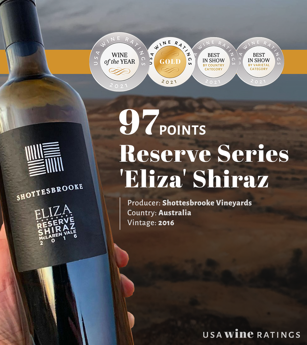 Shottesbrooke Reserve Series 'Eliza' Shiraz gets the best wine award with 97 points