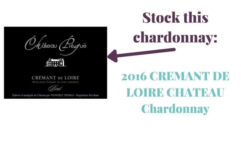 Photo for: Stock this Chardonnay: 2016 CREMANT DE LOIRE CHATEAU